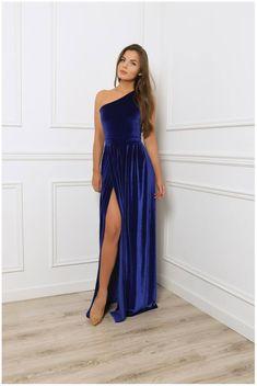31b9898e3026 One Shoulder Royal Blue Velvet Maxi Dress  Sleeveless High Slit Party Dress   With Sash Waistband