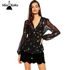 MissKoKo Summer Tops Women Clothing Star Print Deep V-neck Long Sleeve Blouse For Women Black Sexy Sheer Female Shirt Women #Affiliate