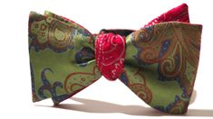 Green Floral/Red Paisley Reversible 100% Silk Self Tie Bow. One bow tie worn four different ways!