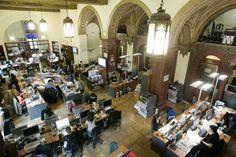 Modern newsroom in a beautiful historic hall