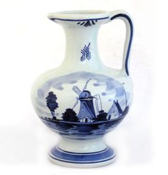 Blue and White Pitcher with picture of Windmill