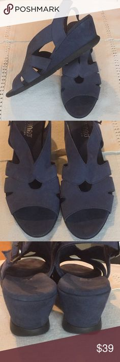 Munro Wedge Sandals Light as a feather super comfortable Munro sandals with wedge heel and black non-slip sole. In a beautiful Wedgwood blue suede material. Worn only a few times - like new Munro Shoes Sandals