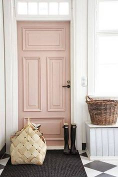 [orginial_title] – Glitter Guide 10 Gorgeous Nude and Blush Pink Living Spaces soft pink blush nude fron door house entrance ideas interior design shop room ideas black white tile floor checker diamond pattern Front Door Paint Colors, Painted Front Doors, Painted Interior Doors, Interior Door Colors, Farrow And Ball Front Door Colours, Painted Furniture, Entryway Paint Colors, Best Front Door Colors, Garage Door Colors