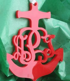 Anchor Acrylic Monogram Ornament - CHOOSE YOUR COLOR!