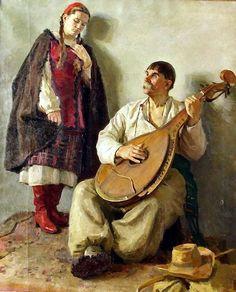 А.Михалюк. Бандурист і дівчина , 1954 р.