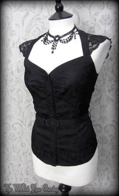 Elegant Gothic Black Vintage Rose Jacquard Lace Top 10 PETITE Pin Up 50's Dita | THE WILTED ROSE GARDEN