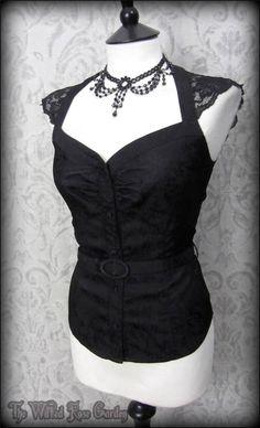 Elegant Gothic Black Vintage Rose Jacquard Lace Top 10 PETITE Pin Up 50's Dita | THE WILTED ROSE GARDEN