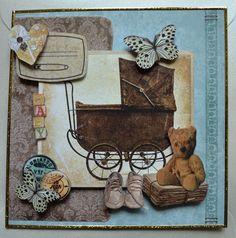 Baby & Geburt - 3D Karte Geburt im Vintage Style inkl. Umschlag - ein Designerstück von HoFa25 bei DaWanda