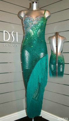 Greens, sheer, long fringe this is how you do a mermaid dress Latin Ballroom Dresses, Latin Dresses, Ballroom Dancing, Ballroom Costumes, Dance Costumes, Baile Latino, Salsa Dress, Tango Dress, Dance Fashion