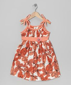 Take a look at this Coral & White Butterfly Dress - Toddler by Marmellata on #zulily today!