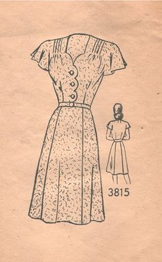 Mail Order 3815; ca. 1940s; Women's Dress Vintage Pattern