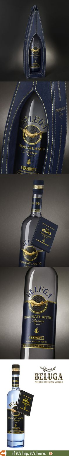 Beluga Transatlantic Vodka comes in Blue leather gift boxes and gold stitching.