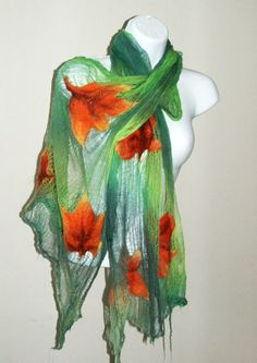 Nuno Felted Scarf Sunny Fall wrap OOAK Wearable Art por BeatasSoul, $86.00
