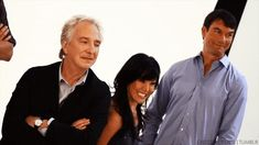 """Rickman with Hettienne Park and Jerry O'Connell at a photo-call for """"Seminar"""" Sep 19, 2011"""