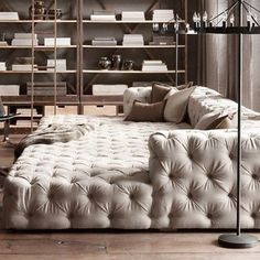 Might have to call in sick this morning and lounge on our Soho Tufted Upholstered Sofa all day #restorationhardware #restorationinspiration #beigedecor #industrial #upholsteredsofa #tufted #soho #restoration #decor #home #livingroom #instadecor