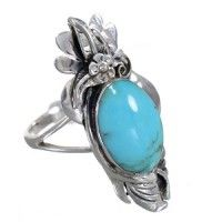 Turquoise Sterling Silver Southwest Flower Ring Size 8 YX79869