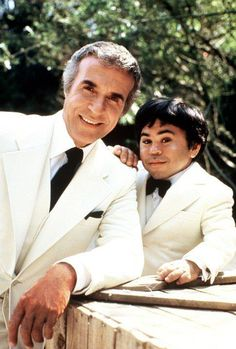 """Ricardo Montalban as Mr. Roarke and Hervé Villechaize as Tattoo in the vintage TV series """"Fantasy Island"""" - Carefully selected by Gorgonia www. Top Ten Tv Shows, Movies And Tv Shows, Fantasy Island Tv Show, Tv Vintage, Vintage Games, Island Movies, Love Boat, Old Shows, Best Fan"""