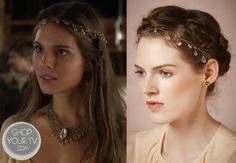 Kenna (Caitlin Stasey) wears this faceted glass, Swarovski crystal,  and golden thread headband in this week's episode of Reign.