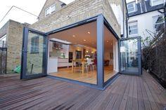 Bi folding doors on corner... To open up kitchen / lighting onto garden and hot tub area ❤️