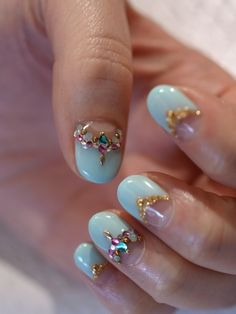 Pastel blue and gold.