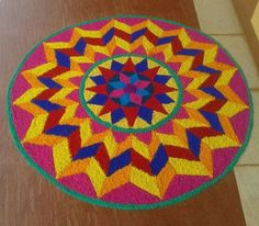 Get of beautiful rangoli designs for Diwali, New Year and Competition. Discover these beautiful rangoli designs of Ganesh, peacocks and with flowers. Best Rangoli Design, Rangoli Designs Latest, Simple Rangoli Designs Images, Rangoli Designs Flower, Free Hand Rangoli Design, Small Rangoli Design, Rangoli Ideas, Colorful Rangoli Designs, Rangoli Designs Diwali