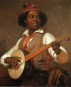 The Banjo Player, among 3 portraits of African-American musicians by William Sydney Mount.  George Freeman posed for 2 weeks for this work.