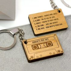 A cassette tape shaped keyring, personalised with a name and up to five songs of your choice. This fun and romantic key ring is carefully handmade in our Brighton studio and is laser cut from sustainably sourced alderwood. You can personalise the front of the mix tape with your choice of name and these will be laser etched onto the surface with the words mix tape. On the back of the mix tape keyring you can choose up to 5 songs of your choice, these might be your loved ones favourite songs…