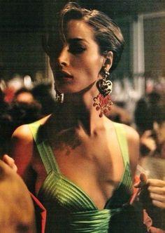 Christy Turlington, backstage at Versace, Spring 1990