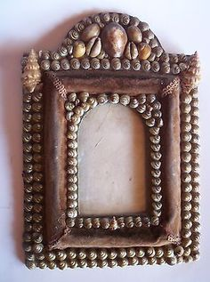 Victorian Sailor's Valentine Shell Art Antique Frame