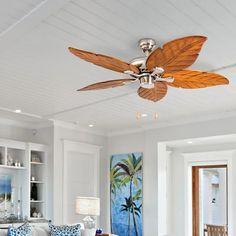 "52"" Longford 5 - Blade Leaf Blade Ceiling Fan with Light Kit Included Coastal Ceiling Fan, Tropical Ceiling Fans, Best Ceiling Fans, Ceiling Fan With Remote, Led Ceiling, Ceiling Fan Accessories, Ceiling Fan Makeover, Fan Light Kits, Beach Room"