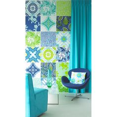 Bright, bold wall treatment. Probably could use scrapbook paper.