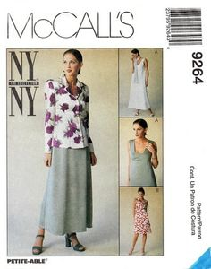 McCall's 9264 Jacket & Low Necked Sleeveless Dress 1998 Sewing Ideas, Sewing Patterns, Ny Ny, Midi Skirt, Skirts, Jackets, Collection, Dresses, Fashion
