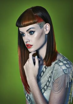 long brown straight multi-tonal defined-fringe shaved-sides short-fringe womens hairstyles for women