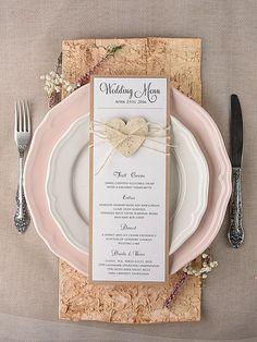 Set of Rustic Wedding Menu Cards menu, Rustic Menu Card, Rustic Heart… Kraft Paper Wedding, Vintage Wedding Stationery, Wedding Stationary, Wedding Invitations, Rustic Wedding Menu, Wedding Menu Cards, Wedding Table, Cute Wedding Ideas, Wedding Sets