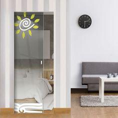 Eclisse Sol Levante Murano Design on Clear or Satin Glass Pocket Door. Glass Pocket Doors, Glass Door, Architrave, Murano Glass, Contemporary Style, Space Saving, Creative Design, Satin, Furniture