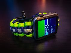 Apple Watch Seattle Seahawks Paracord Band, 42mm & 38mm - Stainless Steel Adjustable Clasp, MilSpec cord, NFL, The Pats, NFC West
