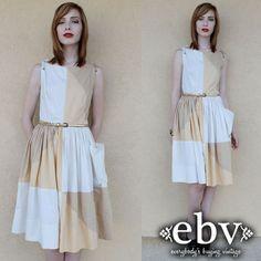 #Vintage #50s #Colorblock Full Skirt #Dress S M by #shopEBV http://etsy.me/18X120j via @Etsy #etsy #1950s, $135.00