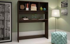 Manhattan Comfort Aosta Display Desk with 4 Shelves in Tobacco