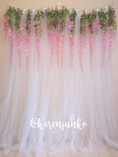 Tulle Backdrop Curtain Photo Booth with Hanging Wisteria Flowers This beautiful, romantic backdrop i Bridal Shower Balloons, Bridal Shower Backdrop, Bridal Shower Decorations, Wedding Decorations, Parties Decorations, Tulle Decorations, Backdrops For Parties, Wedding Backdrops, Birthday Decorations