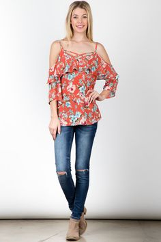 Coral floral print ruffled 3/4 sleeves top! #fashion #USA #streetwear #streetstyle #streetfashion #trend #outfit #fashionweek #fashionshow #beauty #Sleeveless #Dress Fashion Usa, Fashion Show, Floral Tops, Floral Prints, Fit Flare Dress, Streetwear, Coral, Street Style, Sleeves