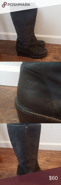 Gently Used Sorel Wedge Boots Awesome pair of Sorel boots only worn a handful of times! Suede shaft with leather upper. These guys will never wear out! Size 8 Sorel Shoes Winter & Rain Boots