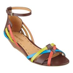 "Our Villea huarache-inspired ankle strap peep-toe sandals feature festive multi-colored straps and adjustable buckle closure. Padded footbed for all-day comfort. Leather upper. Man-made lining and sole. Imported. Stacked 1 1/2"" wedge heels. Women's shoes. Ankle strap peep-toe sandals."