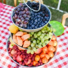 A colorful rainbow display of fresh fruit is the perfect healthy dessert for summer entertaining. Beautiful and delicious!