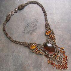 Amber Beadwoven Necklace by Beadmask on DeviantArt