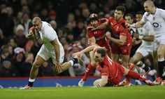 Feb. 6th. 2015: Jonathan Joseph scores for England, who overturned a 16-8 half-time deficit to win a tense and enthralling Six Nations opener in Cardiff 21-16