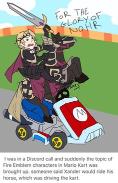 """spyrothewhitekyurem: """" shadowstaar-art: """" I was in a Discord call and suddenly the topic of Fire Emblem characters in Mario Kart was brought up. someone said Xander would ride his horse, which was. Fire Emblem 4, Fire Emblem Fates, Fire Emblem Awakening, Video Games Funny, Funny Games, Faia, Fire Emblem Characters, Blue Lion, Mario Kart"""