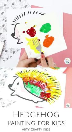 Looking for ideas for woodland animal art projects for kids to make at home or in the classroom? This hedgehog fork painting for kids is cute   fun   perfect for autumn! Get printable art templates for these hedgehog art paintings for kids here! | Fall Art for Kids | Simple Hedgehog Art for Kids Woodland Animals | Kids Hedgehog Art | Woodland Animal Art Paintings | Woodland Animal Art for Kids | Preschool Woodland Animal Art | Fork Paintings for Kids Animals | Animal Art for Kids #KidsArt Forest Animal Crafts, Animal Crafts For Kids, Animals For Kids, Easy Fall Crafts, Fall Crafts For Kids, Art For Kids, Fall Art Projects, Animal Art Projects, Fox Crafts