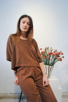 LLOYD Clothing brown tencel pants + cropped t-shirt. Made in Vancouver, Canada.