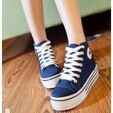 รองเท้าผ้าใบ แฟชั่นเกาหลีส้นหนาหุ้มข้อ นำเข้า ไซส์35ถึง39 สีน้ำเงิน - พรีออเดอร์RB2030 ราคา1200บาท