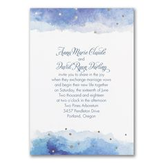 Blue and White Wedding Ideas - Dazzling Watercolor - Invitation | Occasions In Print, LLC (Invitation Link - http://occasionsinprint.carlsoncraft.com/Wedding/Wedding-Invitations/3254-TWS38829-Dazzling-Watercolor--Invitation.pro)